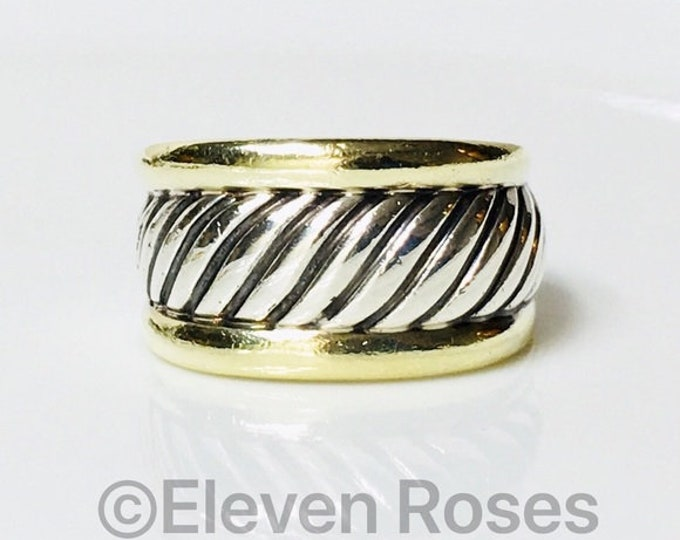 David Yurman Classic Cable Cigar Band Ring Two Tone 925 Sterling Silver & 585 14k Gold Free US Shipping