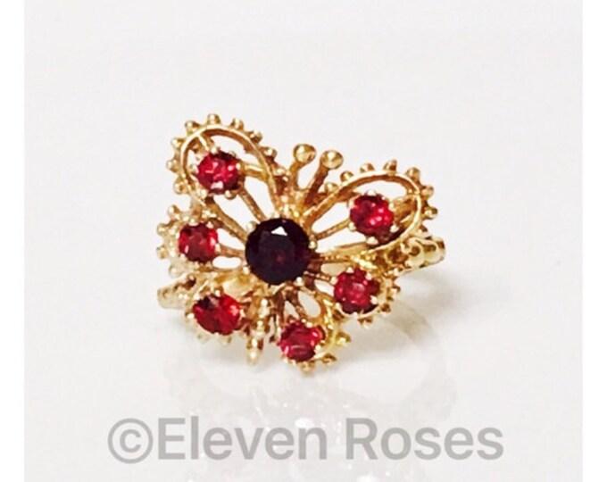 585 14k Yellow Gold Multi Garnet Gemstone Butterfly Ring Free US Shipping