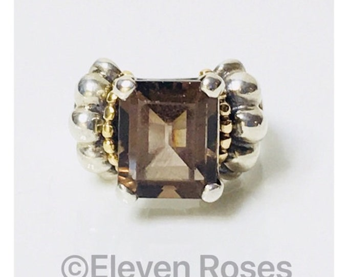Lagos Caviar Signature Smoky Quartz Statement Ring 925 Sterling Silver 750 18k Gold Free US Shipping