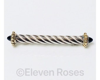 ALS Italy Renaissance Cable Style Bar Pin Brooch 925 Sterling Silver 750 18k Gold Black Onyx End Tips Free US Shipping