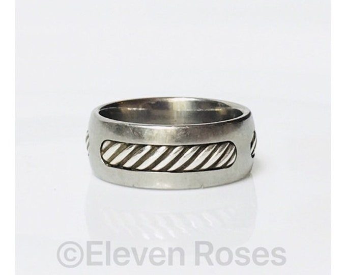 David Yurman Titanium Inset Cable Band Ring Ti 925 Sterling Silver Free US Shipping