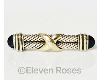 David Yurman Double Cable X Black Onyx Bar Brooch 925 Sterling Silver & 14k Yellow Gold Free US Shipping