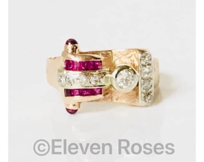 Vintage 585 14k Gold Ruby & Diamond Buckle Ring Free US Shipping