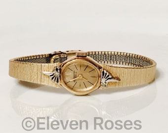 Vintage Gold Armitron 17 Jewel Mechanical Watch Diamond Accents Free US Shipping