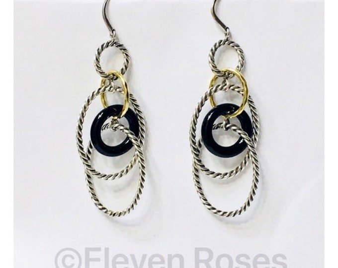 David Yurman Large Link Onyx Mobile Chain Earrings DY 925 Sterling Silver 750 18k Gold Free US Shipping
