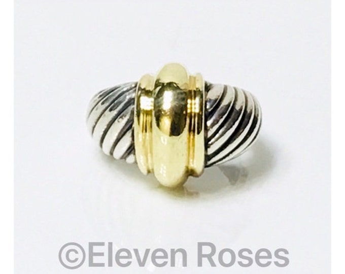 David Yurman 14k Yellow Gold & Sterling Silver Cable Dome Statement Ring DY 585 925 Free US Shipping