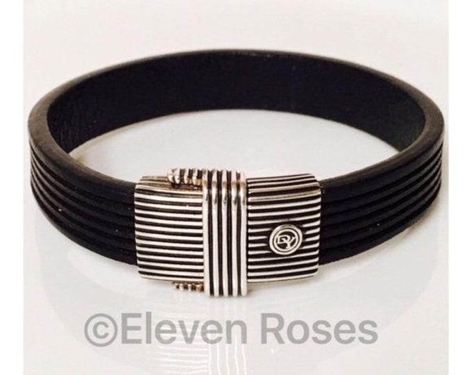 David Yurman Men's Sterling Silver & Black Leather Royal Cord ID Bracelet Free US Shipping