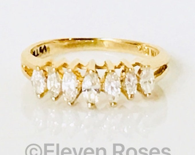 Ladies 585 14k Gold Marquise Diamond Anniversary Ring Wedding Band Free US Shipping