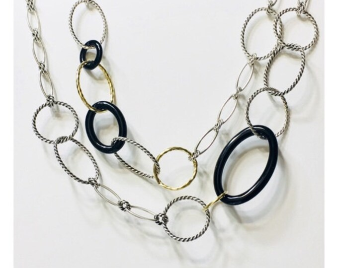 David Yurman Large Link Onyx Mobile Chain Necklace 925 Sterling Silver 750 18k Gold