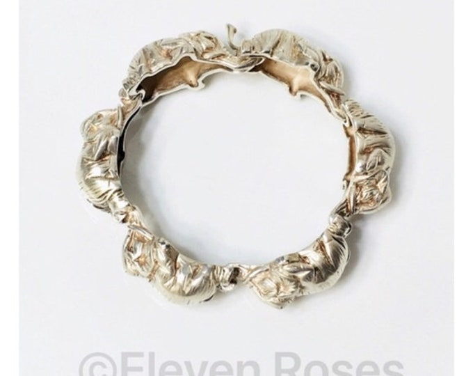 Tiffany & Co. Elephant Link Bracelet 925 Sterling Silver Free US Shipping