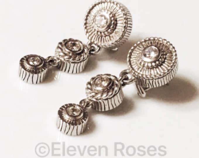 Judith Ripka Triple Drop Dangle Earrings 925 Sterling Silver Diamonique Free US Shipping