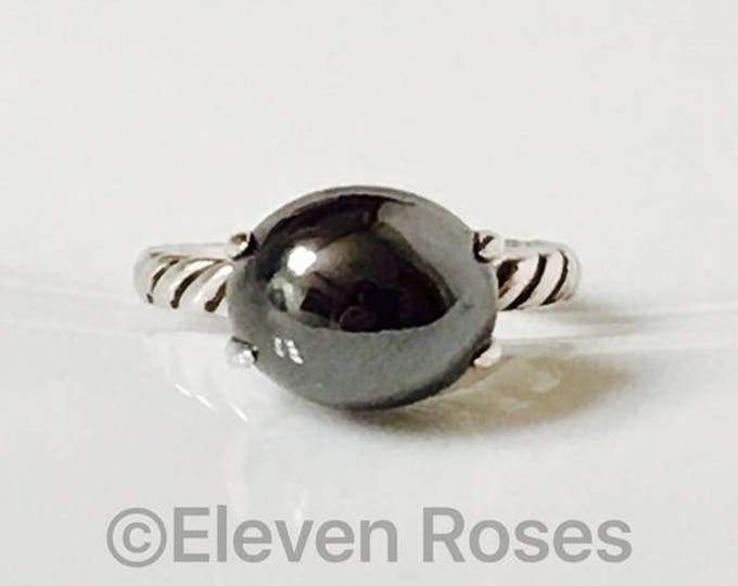David Yurman Hematite Color Classics Ring DY 925 Sterling Silver Free US Shipping