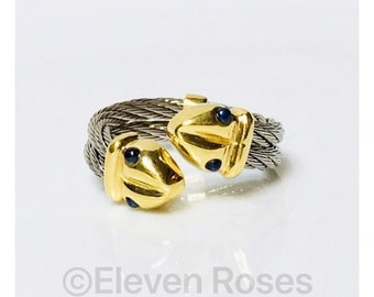 Unique Designer Al-OR 750 18k Gold Double Snake Head Blue Sapphire Cabochon Ring Two Row Steel Cable Band Free US Shipping