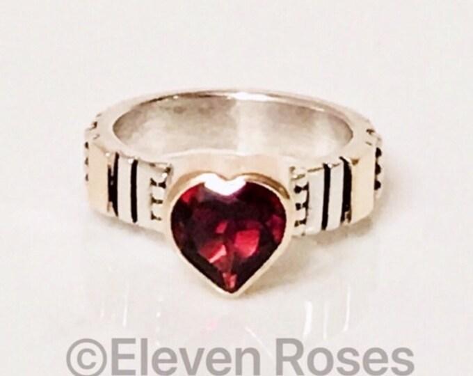 Unique Designer Garnet Heart Ring 925 Sterling Silver 750 18k Gold Free US Shipping