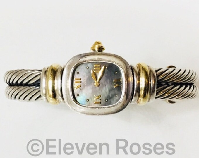 David Yurman Double Cable Black Mother Of Pearl Watch DY 925 Sterling Silver 750 18k Gold Fee US Shipping