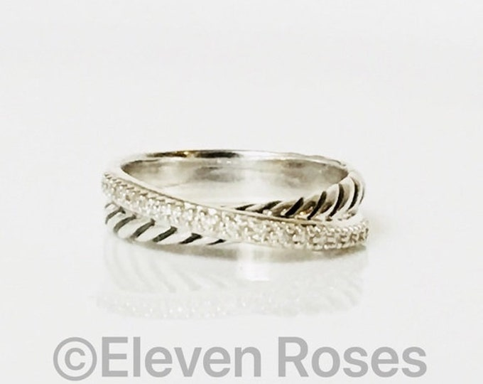 David Yurman Diamond Cable Crossover Ring DY 925 Sterling Silver Free US Shipping