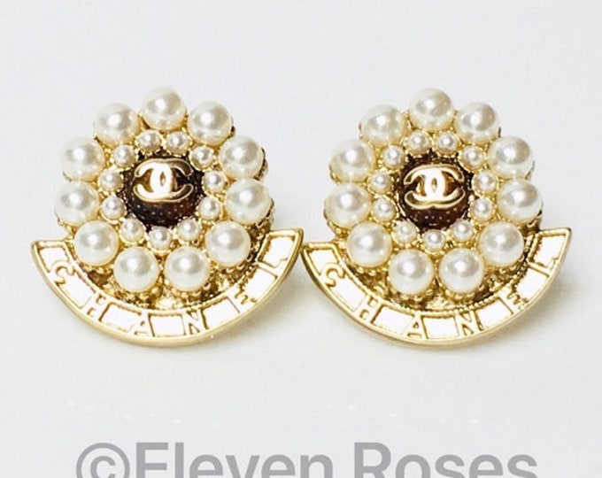 CHANEL Gold CC Pearl Earrings Free US Shipping