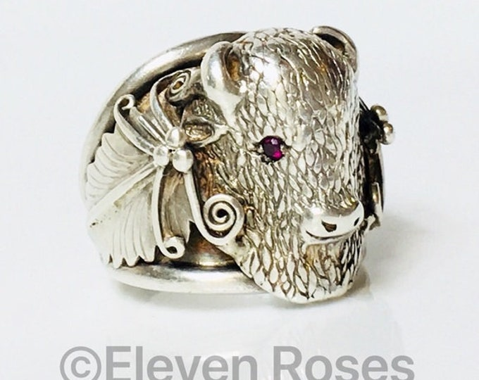Large Navajo Buffalo Ring Ruby Eyes 925 Sterling Silver Free US Shipping