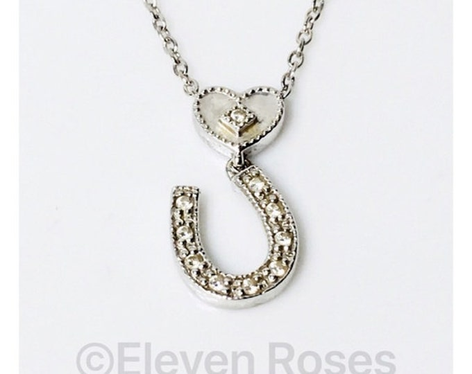 Charriol 750 18k Gold Flamme Blanche Diamond Heart Horseshoe Necklace Free US Shipping