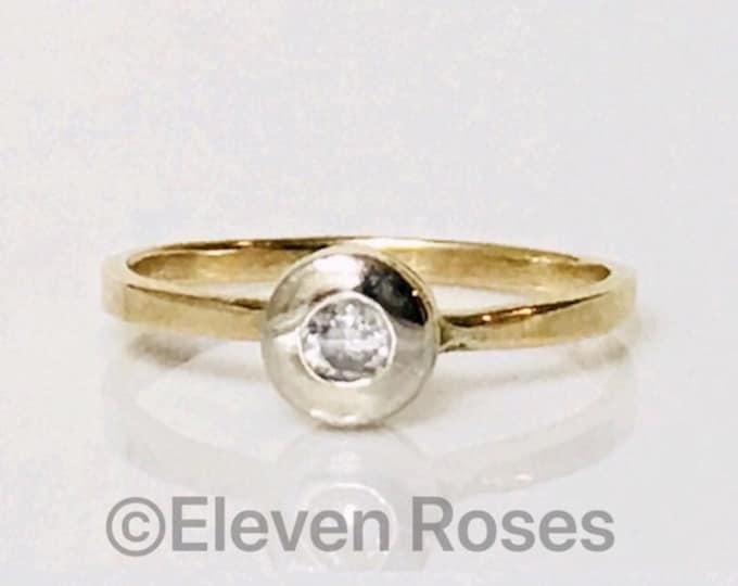 Vintage Two Tone 585 14k Yellow & White Gold Diamond Solitaire Engagement Ring Free US Shipping