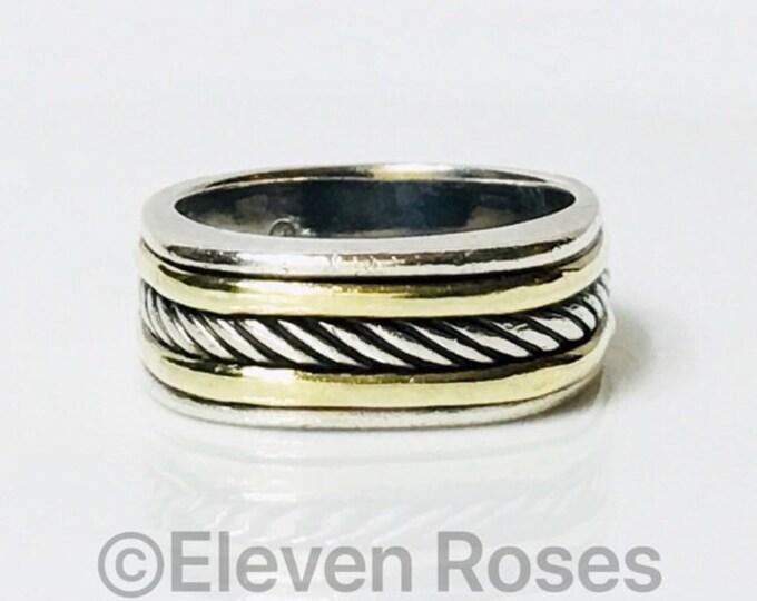 Mens David Yurman Classic Cable Cigar Band Ring 925 Sterling Silver & 585 14k Gold Free US Shipping