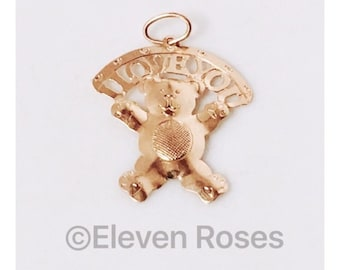 14k Yellow Gold Teddy Bear I Love You Charm Pendant Free US Shipping
