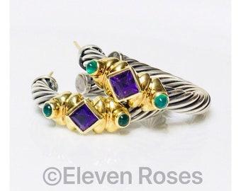 David Yurman Amethyst & Green Onyx Renaissance Hoop Earrings DY 925 Sterling Silver 585 14k Gold Free US Shipping