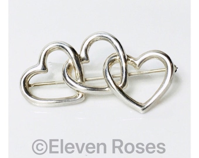 Vintage Tiffany & Co. 1984 Triple Heart Brooch 925 Sterling Silver Free US Shipping