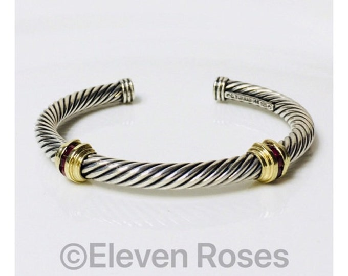 David Yurman Ruby Double Station Cable Cuff Bracelet 925 Sterling Silver 585 14k Gold Free US Shipping
