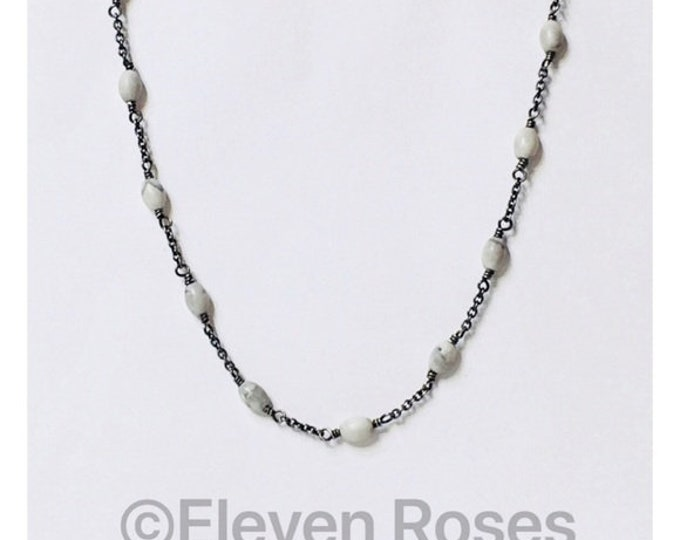 David Yurman Agate Spiritual Bead Chain Necklace DY 925 Sterling Silver Free US Shipping