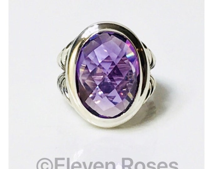 David Yurman Signature Oval Amethyst Ring 925 Sterling Silver Free US Shipping