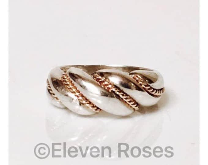 Designer 925 Sterling Silver 14k Gold Milgrain Rope Ribbed Dome Shrimp Ring Free US Shipping