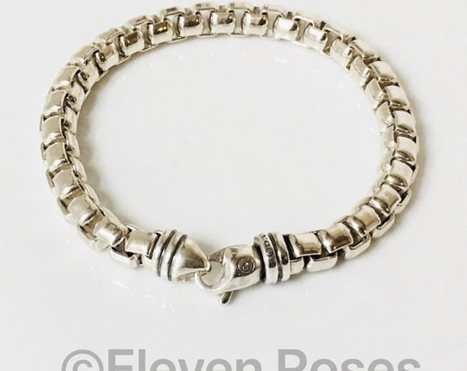 Men's David Yurman Extra Large 7mm Box Chain Bracelet 925 Sterling Silver Free US Shipping