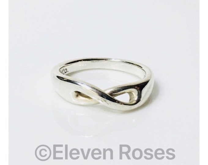 Tiffany & Co. Cut Out Infinity Ring 925 Sterling Silver Free US Shipping