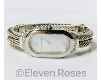 David Yurman Diamond Double Cable Madison Watch 925 Sterling Silver 585 14k Gold Free US Shipping