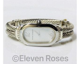 David Yurman Diamond Double Cable Madison Watch 925 Sterling Silver 585 14k Gold Free US Shipping