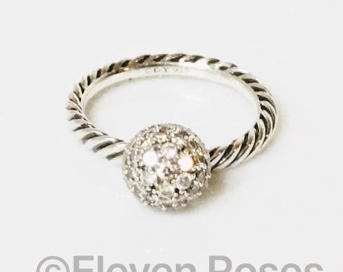 David Yurman 8mm Pave Diamond Ball Dangle Stack Ring 925 Sterling Silver Free US Shipping
