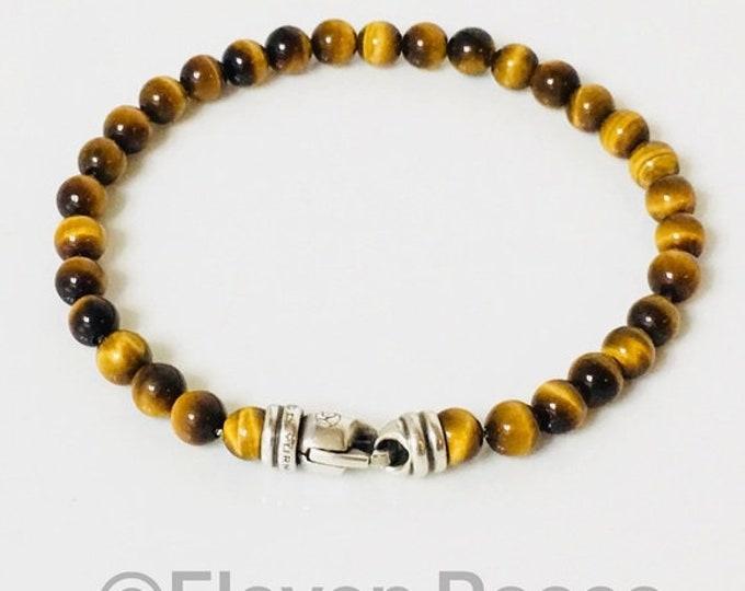 Men's David Yurman Tigers Eye Spiritual Bead Bracelet DY 925 Sterling Silver Free US Shipping