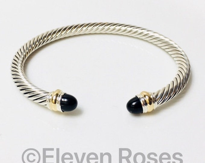 David Yurman Classic Cable Black Onyx Cuff Bracelet DY 925 Sterling Silver & 585 14k Gold Free US Shipping