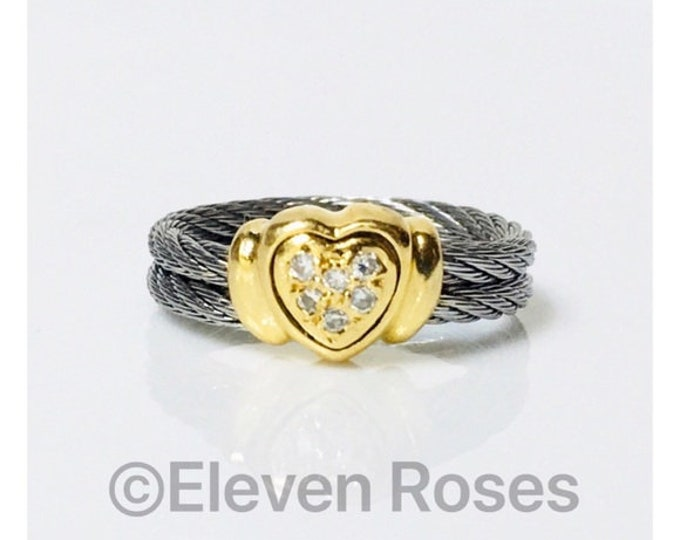 Charriol Diamond Celtic Classique Diamond Heart Ring Steel Cable 750 18k Gold Free US Shipping