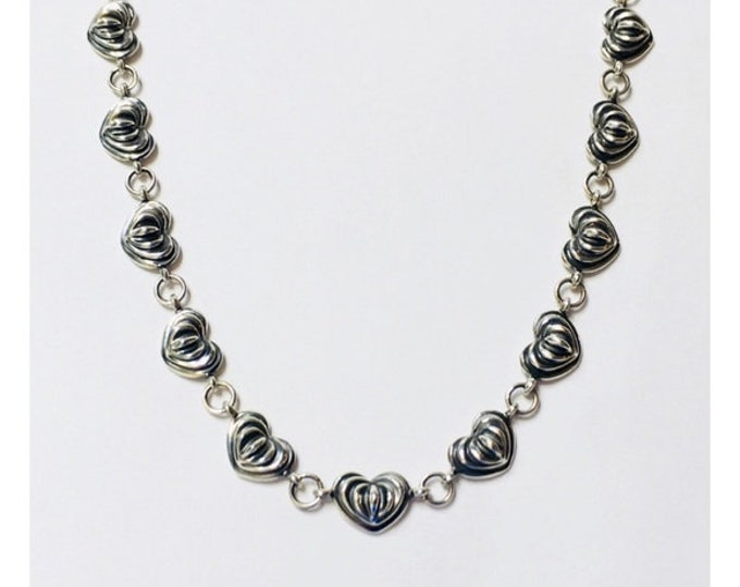 Lagos Caviar Signature Heart Link Chain Necklace 925 Sterling Silver Free US Shipping