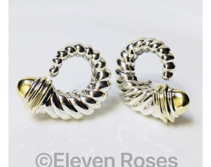 Vintage David Yurman Cable Shrimp Earrings DY 925 Sterling Silver 585 14k Gold Free US Shipping