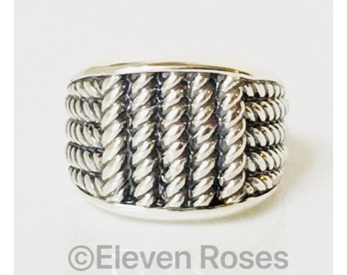 Men's David Yurman Wide Maritime Rope Ring DY 925 Sterling Silver Free Shipping