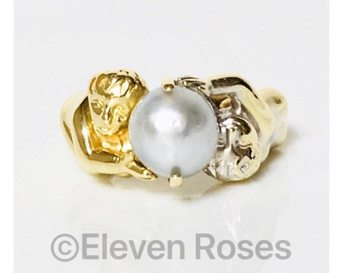 Large Art Nouveau 585 14k Gold Figural Cherub Pearl Ring Free US Shipping