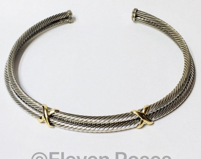 Double X Station Cable Cuff Choker Necklace DY 925 Sterling Silver 585 14k Gold Free US Shipping