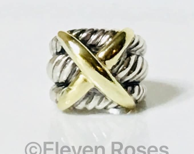 David Yurman Large Classic Cable Three Row X Crossover Statement Ring 925 Sterling Silver & 585 14k Gold Free US Shipping