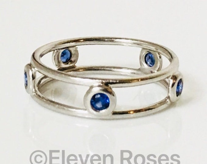 Tiffany Platinum & Blue Sapphire Color By The Yard Double Wire Band Ring Free US Shipping
