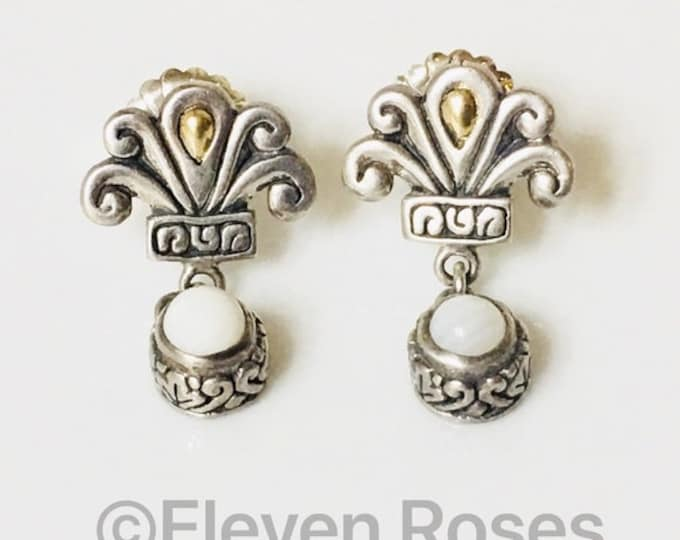 Designer Bali Fleur De Lis 925 Sterling Silver 750 18k Gold White Agate Drop Earrings Free US Shipping