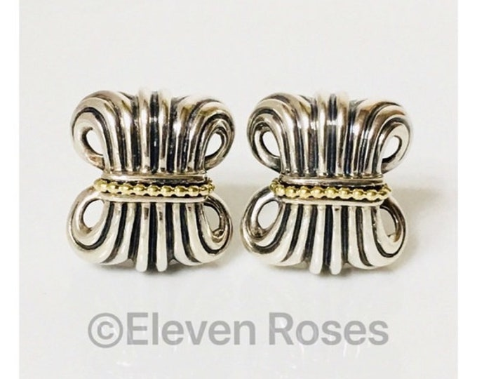 Lagos Caviar Fluted Statement Earrings 925 Sterling Silver 750 18k Gold Free US Shipping