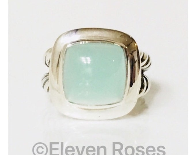 David Yurman Aqua Chalcedony Albion Ring 925 Sterling Silver Free US Shipping